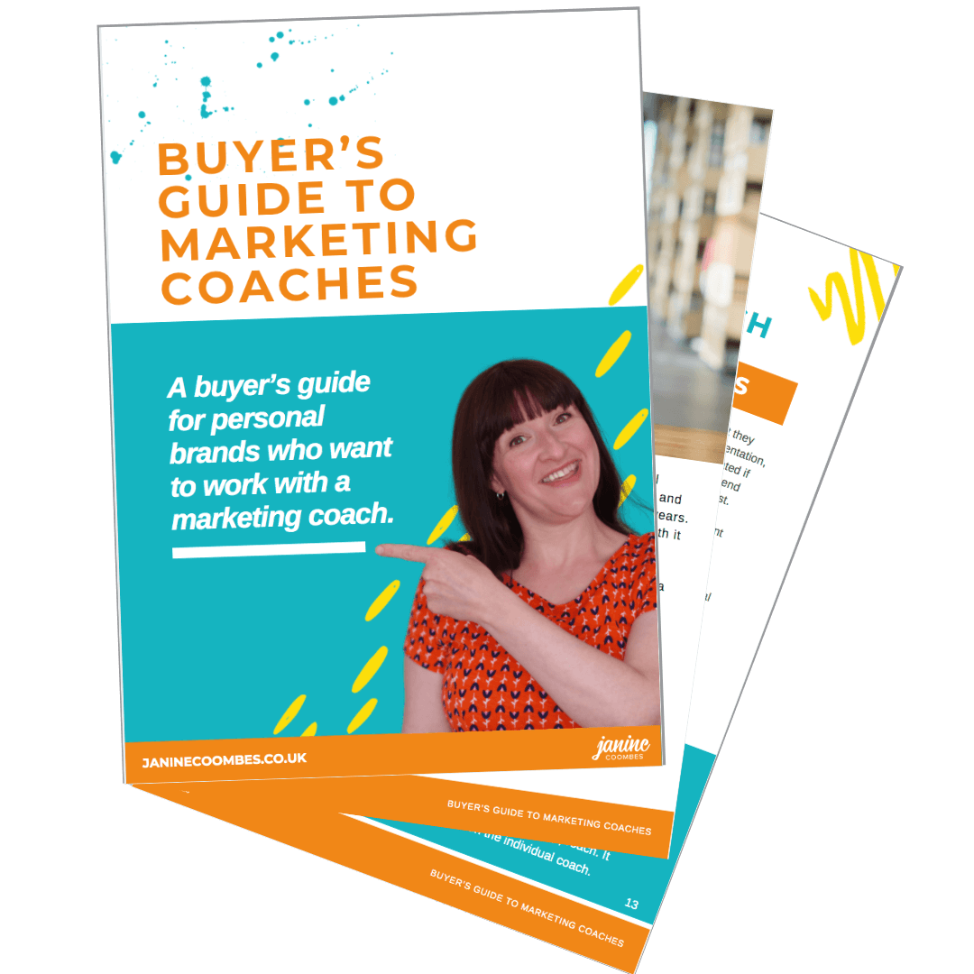 Pages of the marketing coach buyers guide spread out