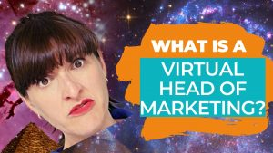 Janine Coombes' disembodied head looking quizzical floating in outerspace. Title reads what is a virtual head of marketing?