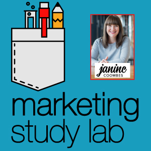 Janine headshot on Marketing Study Lab cover graphic