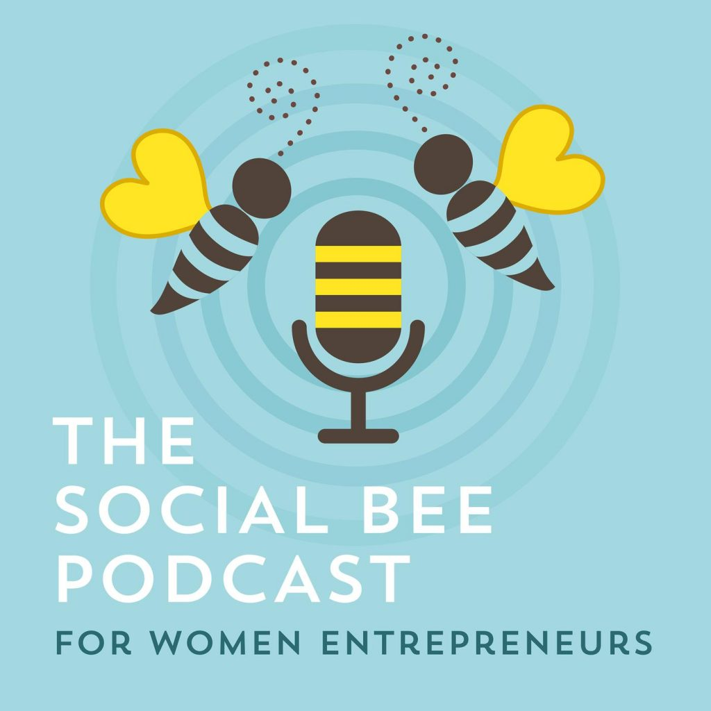 The Social Bee Podcast logo- two bees flying near a microphone