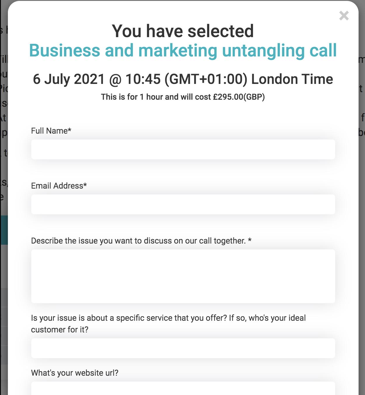 Screengrab of Janine Coombes booking app