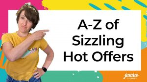 Janine Coombes pointing at the title A-Z of Sizzling Hot Offers